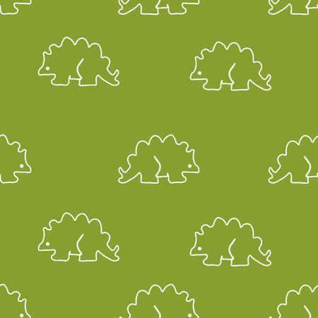Dinosaur stegosaurus pattern seamless.  illustration. Green background.