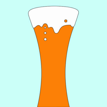 Glass of beer with a silhouette of the person in a penalty fee.  illustration. Optical illusion.