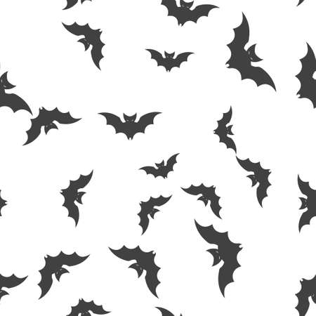 Bat Halloween pattern seamless. Vector illustration. Isolated white background. All Saints Eve.