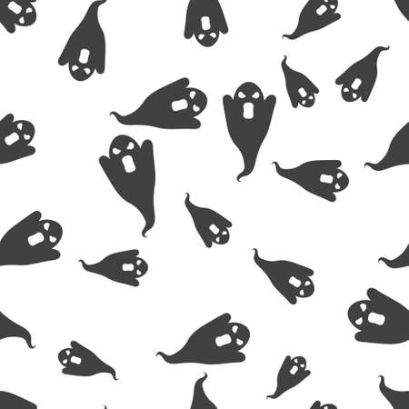 Ghost Halloween pattern seamless. Vector illustration. Isolated white background. All Saints Eve. 向量圖像