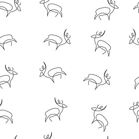 Deer animal pattern seamless. Vector illustration. Isolated white background.  イラスト・ベクター素材