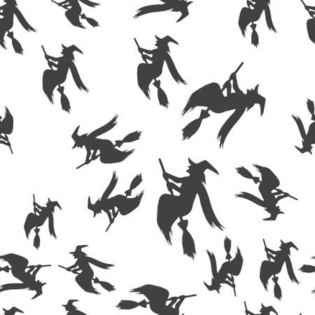 Witch broomstick Halloween pattern seamless. Vector illustration. Isolated white background. All Saints Eve. Ilustração