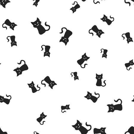 Sinister cat Halloween pattern seamless. Vector illustration. Isolated white background. All Saints Eve.