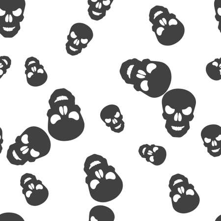 Skull Halloween pattern seamless. Vector illustration. Isolated white background. All Saints Eve.
