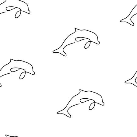 Dolphin animal pattern seamless. Vector illustration. Isolated white background.