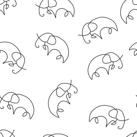 Elephant animal pattern seamless. Vector illustration. Isolated white background.