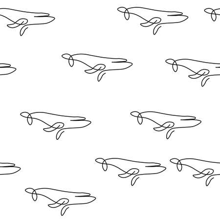 Whale animal pattern seamless. Vector illustration. Isolated white background.