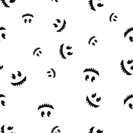 Toothy smiley Halloween seamless pattern. Vector illustration. Isolated white background. All Saints Eve.