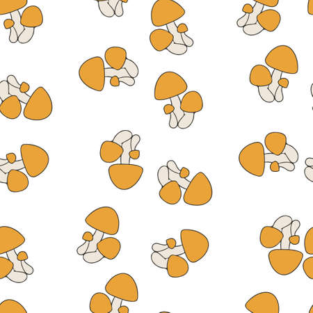 Mushroom pattern seamless.  illustration. Orange mushrooms isolated on white background.