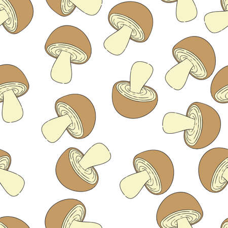 Mushroom pattern seamless.  illustration. Brown mushrooms isolated on white background.