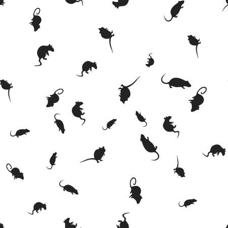 Rat Halloween pattern seamless. Vector illustration. Isolated white background. All Saints Eve.