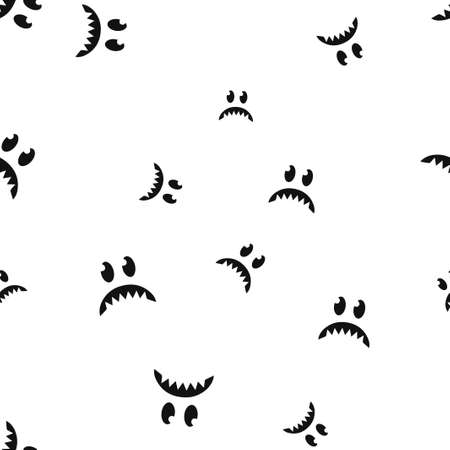 Sad face Halloween seamless pattern. Vector illustration. Isolated white background. All Saints Eve.