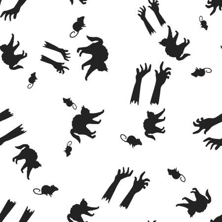 Halloween pattern seamless. Vector illustration. Isolated white background. All Saints Eve.