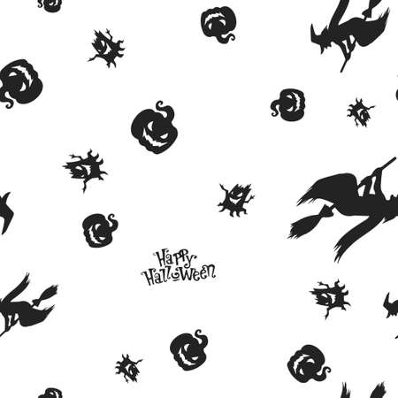 Seamless pattern Halloween. Vector illustration. Isolated white background. All Saints Eve. Ilustração
