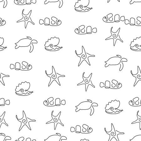 Marine life animal pattern seamless. Starfish, clown fish, calm pearl, turtle. Vector illustration. Isolated white background.