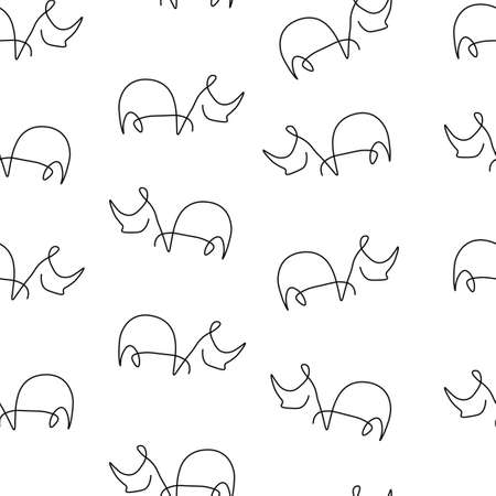 Rhinoceros animal pattern seamless. Vector illustration. Isolated white background. Ilustração