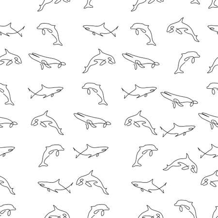 Cetacea animal pattern seamless. Whale, dolphin, shark, killer whale. Vector illustration. Isolated white background. Ilustração