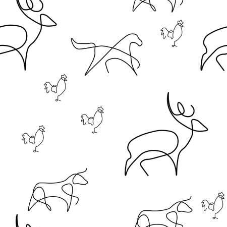 Farm animal pattern seamless. Deer, horse, chicken, bull. Vector illustration. Isolated white background. Ilustração