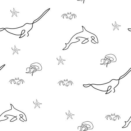 Marine life pattern seamless. Starfish, crab, killer whale, jellyfish, narwhal. Vector illustration. Isolated white background. Ilustração