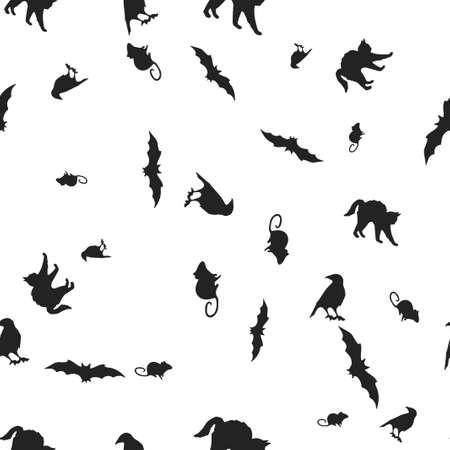 Animal Halloween pattern seamless. Vector illustration. Isolated white background. All Saints Eve. Illustration