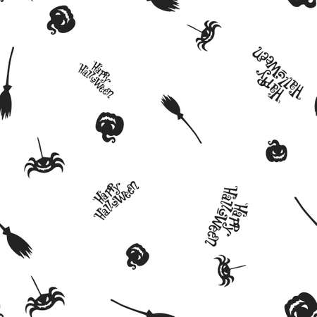 Seamless pattern Happy Halloween. Vector illustration. Isolated white background. All Saints Eve. Ilustração