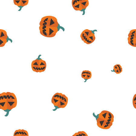 Orange pumpkin Halloween pattern seamless. Vector illustration. Isolated white background. All Saints Eve.