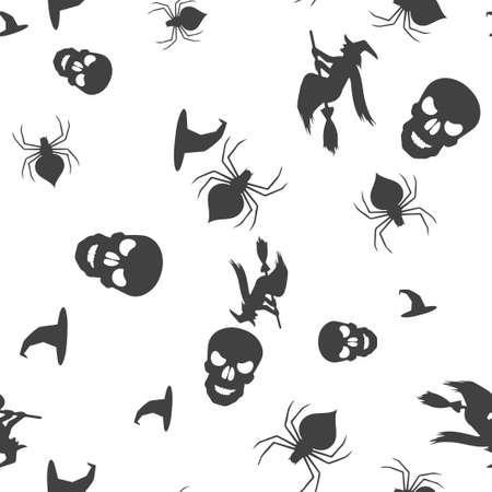 Stellen Sie Halloween-Muster nahtlos ein. Vektor-Illustration. Isolierter weißer Hintergrund. Allerheiligen.