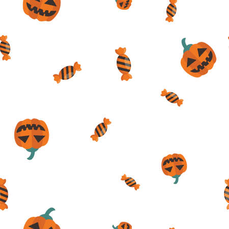 Sweet pumpkin Halloween pattern seamless. Vector illustration. Isolated white background. All Saints Eve.