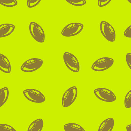 American football rugby pattern seamless. Vector illustration. Lime green background.