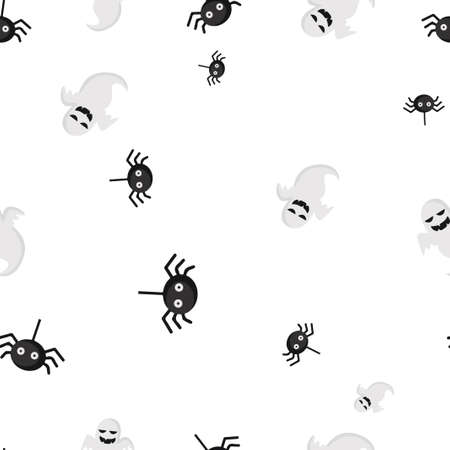 Ghost spider Halloween pattern seamless. Vector illustration. Isolated white background. All Saints Eve.