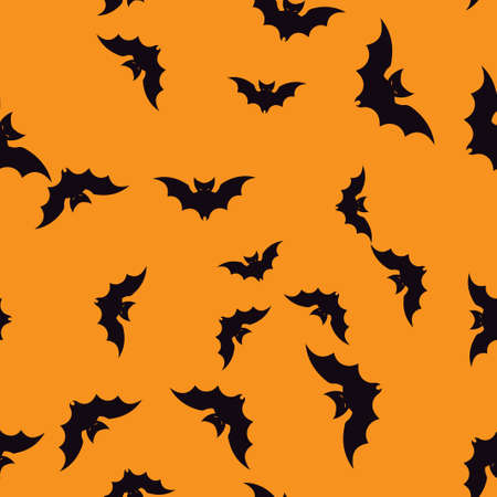 Bat Halloween pattern seamless. Vector illustration. Orange background. All Saints Eve.