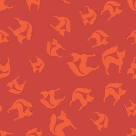 Cat Halloween pattern seamless. Vector illustration. Orange cet terracotta background. All Saints Eve. 向量圖像