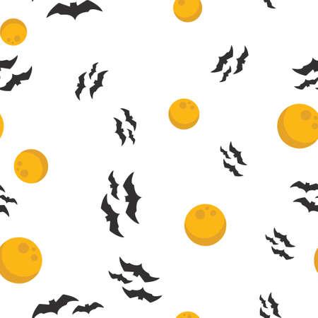 Full moon, bat Halloween pattern seamless. Vector illustration. Isolated white background. All Saints Eve.