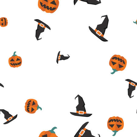 Pumpkin, Witch hat Halloween pattern seamless. Vector illustration. Isolated white background. All Saints Eve.