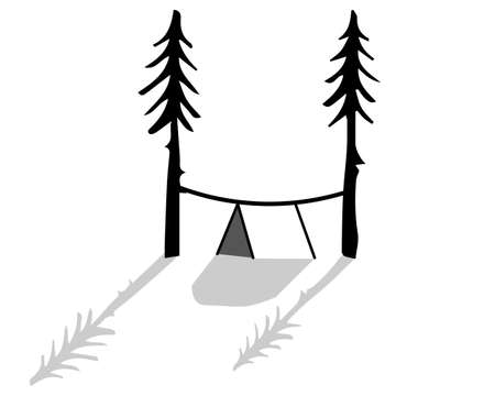 Tent camping.  illustration. Isolated white background Stok Fotoğraf