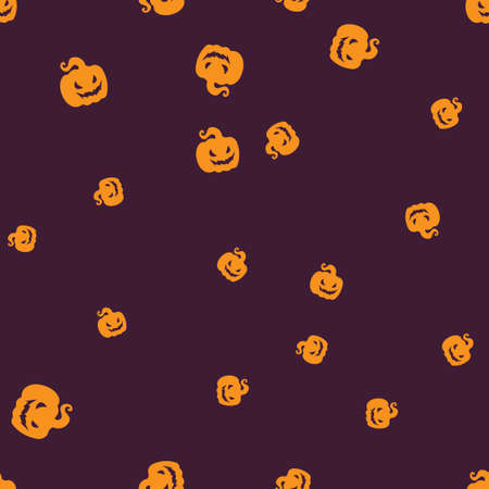 Gourd Halloween pattern seamless. Vector illustration. Orange jack-hood purple background. All Saints Eve.