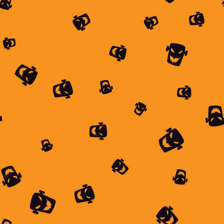 Head zombie Halloween pattern seamless. Vector illustration. Black zombie orange background. All Saints Eve.