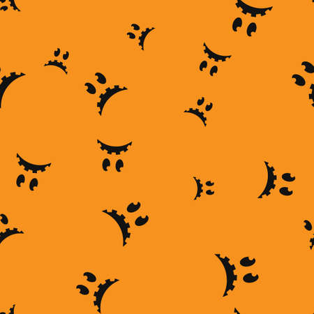 Melancholy face Halloween seamless pattern. Vector illustration. Orange background. All Saints Eve. Ilustração