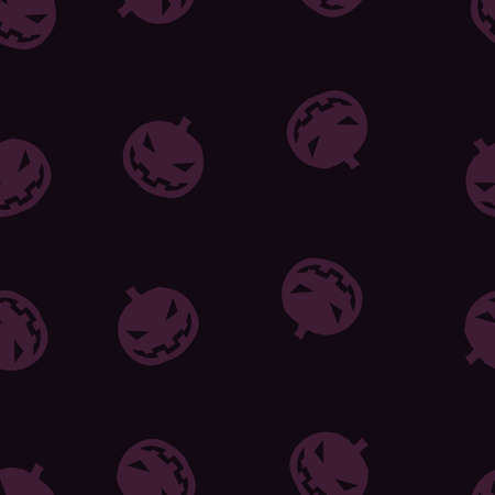 Pumpkin Halloween pattern seamless. Vector illustration. Purple gourd black background. All Saints Eve.
