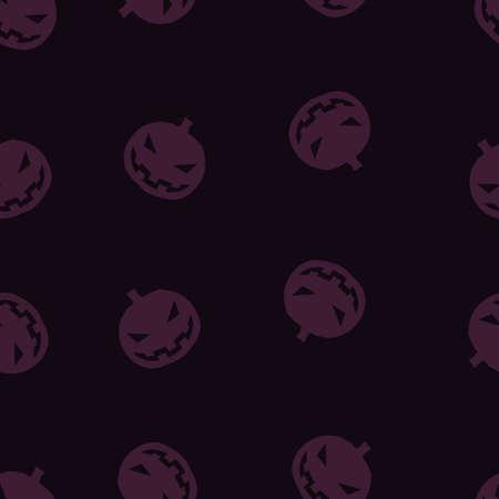 Pumpkin Halloween pattern seamless. Vector illustration. Purple gourd black background. All Saints Eve.