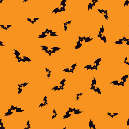 Rearmouse Halloween pattern seamless. Vector illustration. Black bat orange background. All Saints Eve.