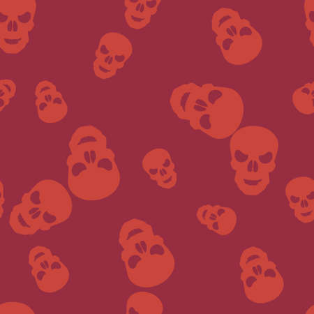 Skull Halloween pattern seamless. Vector illustration. Orange cranium purple background. All Saints Eve.