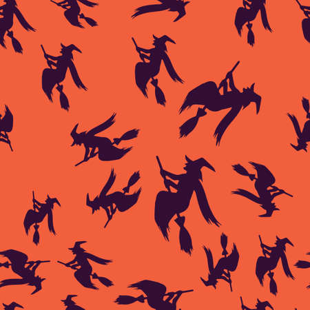 Witch broomstick Halloween pattern seamless. Vector illustration. Purple witch orange background. All Saints Eve.