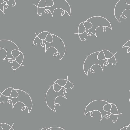 Elephant animal pattern seamless. Vector illustration. Gray background.