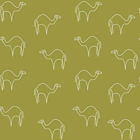 Camel animal pattern seamless. Vector illustration. Lime background.  イラスト・ベクター素材