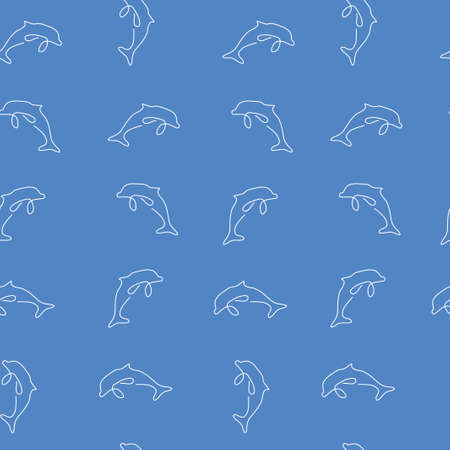 Dolphin animal pattern seamless. Vector illustration. Blue background. Иллюстрация
