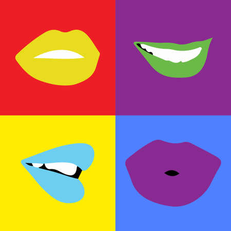 Pop-art lips bright color. Vector illustration. Four lips in square.