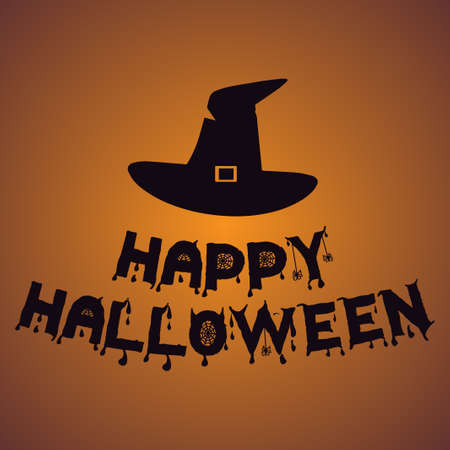 Witch hat Happy Halloween. Vector illustration with text. Orange background with gradient.