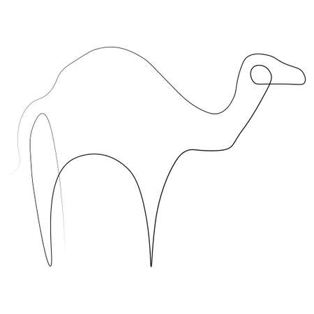 Camel one line.  illustration. Isolated white background.
