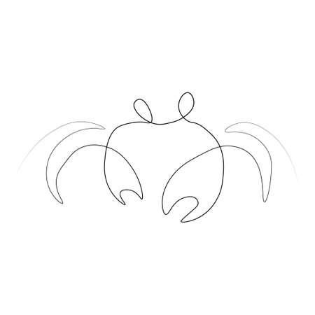 Crab one line.  illustration. Isolated white background.